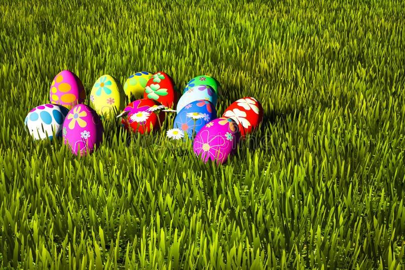 Ζωηρόχρωμα αυγά Πάσχας στην πράσινη χλόη διανυσματική απεικόνιση