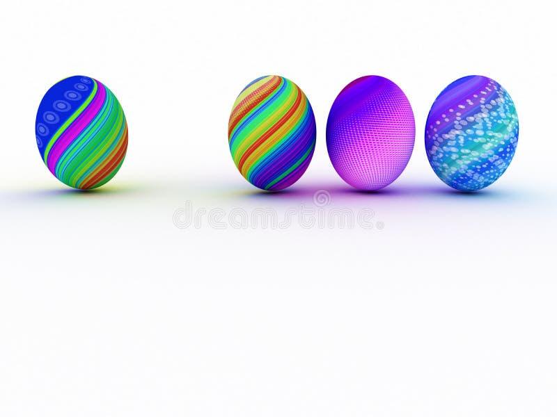 Ζωηρόχρωμα αυγά Πάσχας στο άσπρο υπόβαθρο ελεύθερη απεικόνιση δικαιώματος