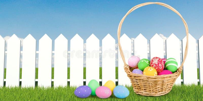 Ζωηρόχρωμα αυγά Πάσχας στο πράσινο υπόβαθρο χλόης στοκ εικόνες