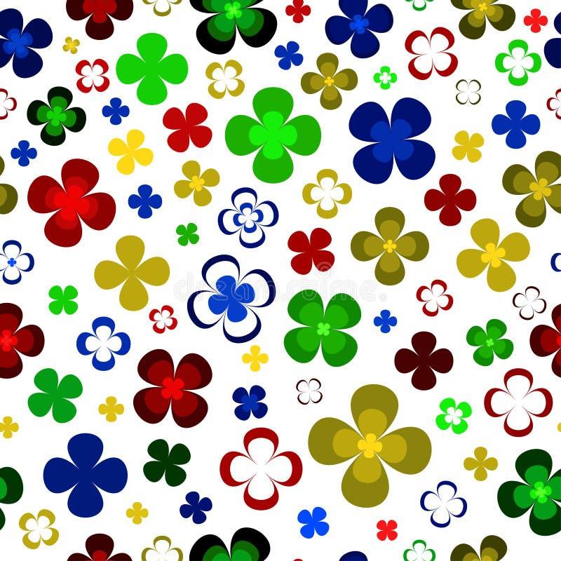 Ζωηρόχρωμα αφηρημένα κίτρινα, πράσινα, κόκκινα και μπλε λουλούδια στο άσπρο υπόβαθρο ελεύθερη απεικόνιση δικαιώματος