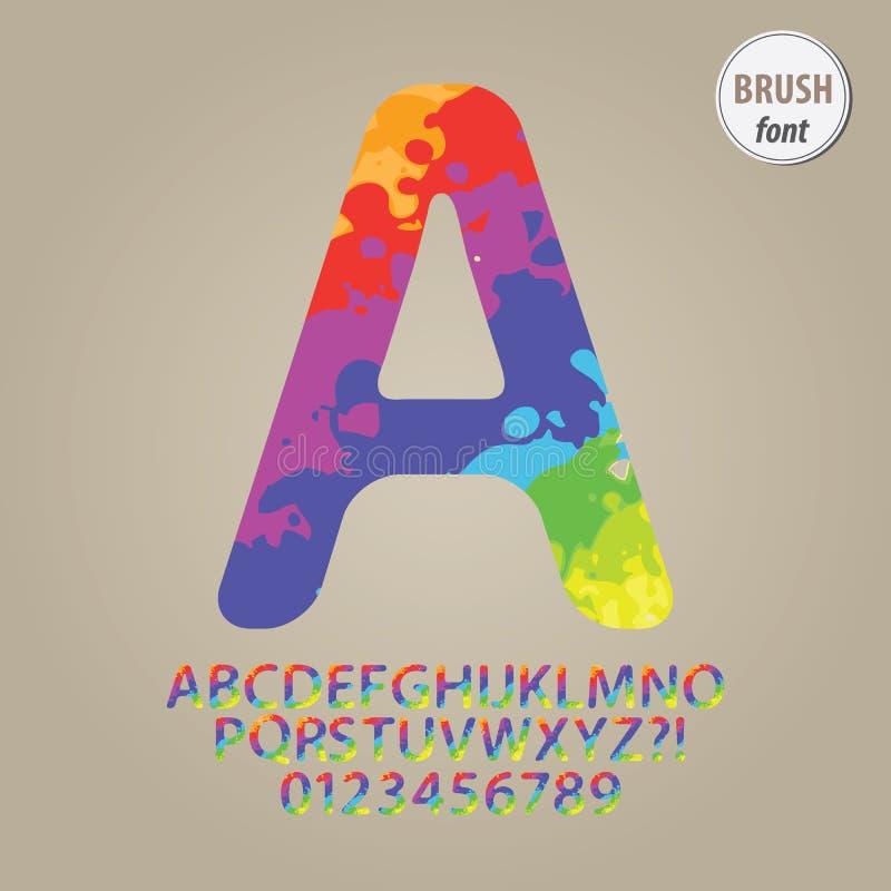 Ζωηρόχρωμα αλφάβητο βουρτσών και διάνυσμα ψηφίων απεικόνιση αποθεμάτων