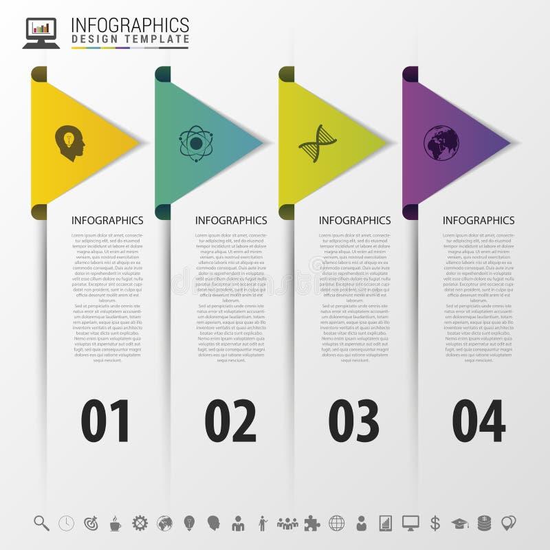Ζωηρόχρωμα βέλη infographic έννοια υπόδειξης ως προς το χρόνο σύγχρονο πρότυπο σχεδίο&upsil επίσης corel σύρετε το διάνυσμα απεικ ελεύθερη απεικόνιση δικαιώματος
