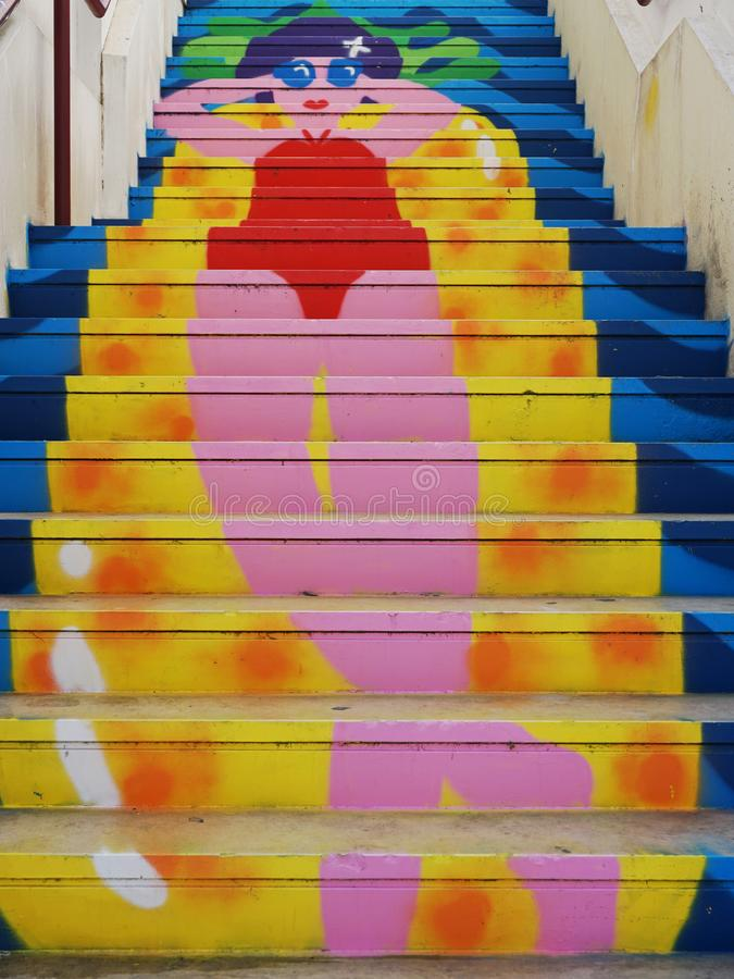 Ζωηρόχρωμα βήματα σε Agueda, Πορτογαλία στοκ φωτογραφία με δικαίωμα ελεύθερης χρήσης