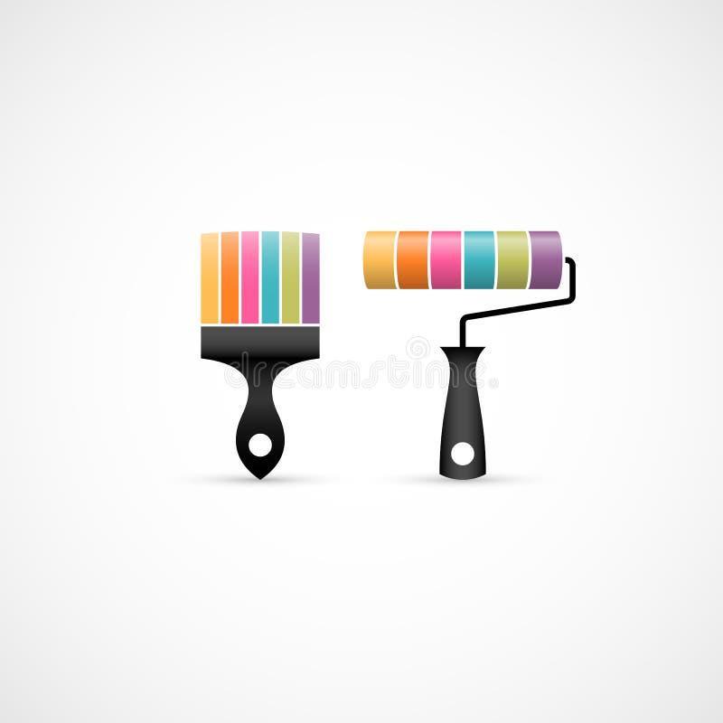 Ζωηρόχρωμα βούρτσα χρωμάτων και εικονίδια κυλίνδρων χρωμάτων απεικόνιση αποθεμάτων