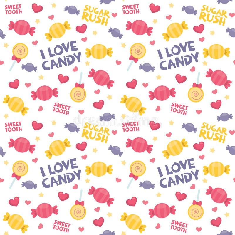 Ζωηρόχρωμα γλυκά: Τυλιγμένη καραμέλα, λαϊκές, ρόδινες καρδιές γλειφιτζουριών και άνευ ραφής σχέδιο κειμένων καραμελών που απομονώ ελεύθερη απεικόνιση δικαιώματος