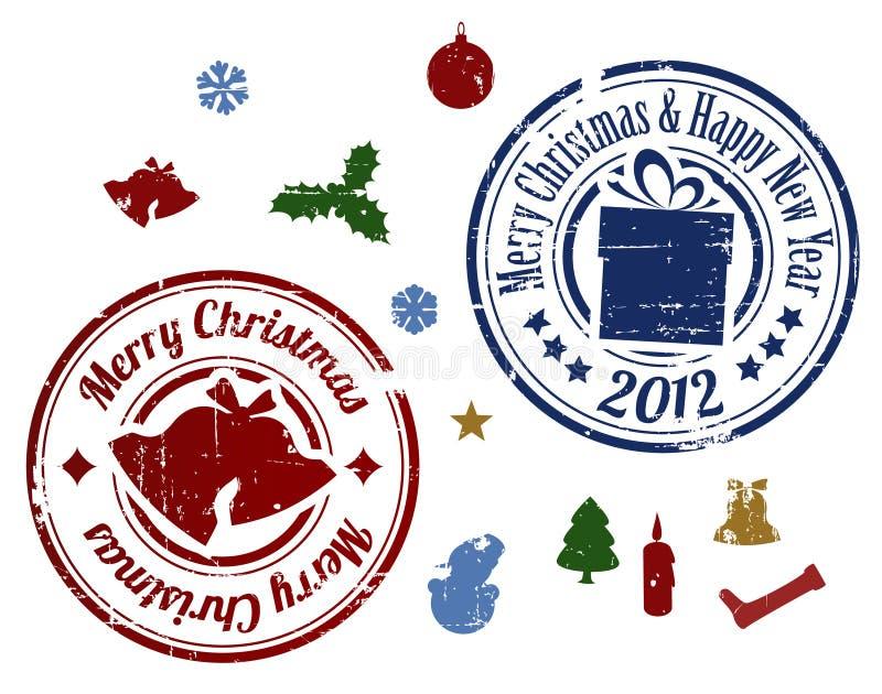 ζωηρόχρωμα γραμματόσημα Χρ&io διανυσματική απεικόνιση
