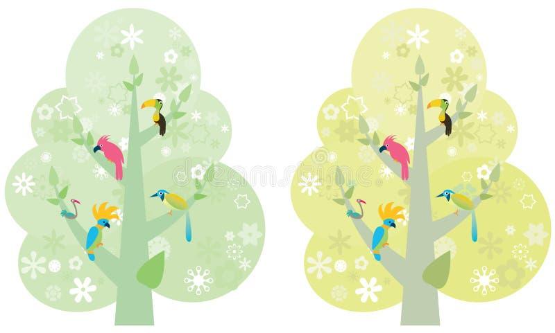 ζωηρόχρωμα δέντρα πουλιών ελεύθερη απεικόνιση δικαιώματος