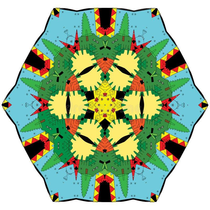 Ζωηρόχρωμα διαμορφωμένα στοιχεία και επεξηγηματικό mandala χρωματισμού διανυσματική απεικόνιση