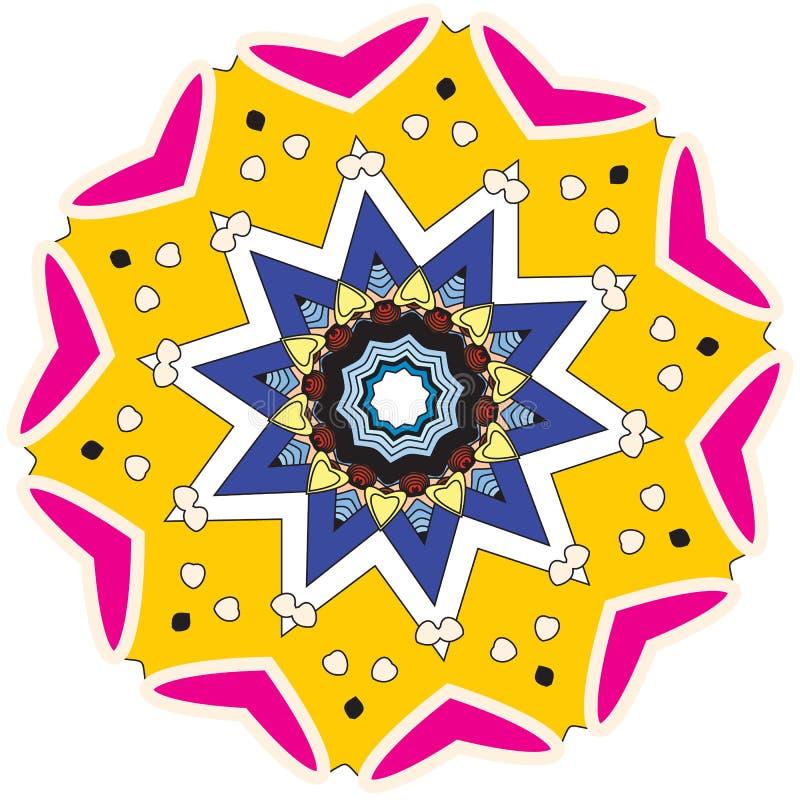 Ζωηρόχρωμα διαμορφωμένα στοιχεία και επεξηγηματικό mandala χρωματισμού απεικόνιση αποθεμάτων