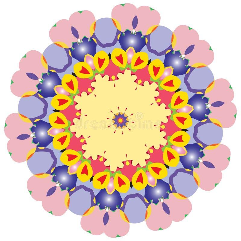 Ζωηρόχρωμα διαμορφωμένα στοιχεία και επεξηγηματικό mandala χρωματισμού ελεύθερη απεικόνιση δικαιώματος