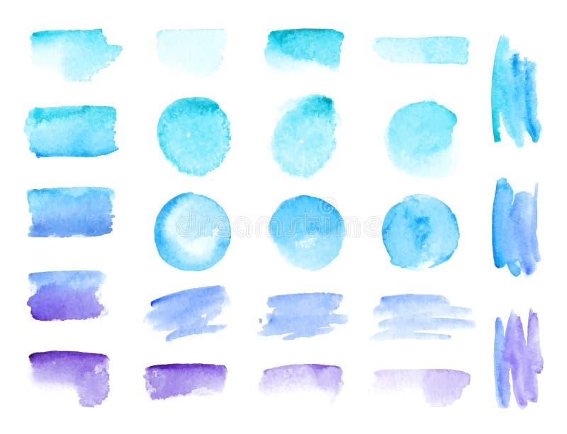 Ζωηρόχρωμα διανυσματικά κτυπήματα βουρτσών watercolor Το χρώμα watercolor χρωμάτων ουράνιων τόξων λεκιάζει τα διανυσματικά υπόβαθ διανυσματική απεικόνιση