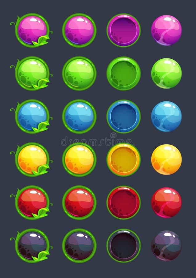 Ζωηρόχρωμα διανυσματικά στρογγυλά κουμπιά κινούμενων σχεδίων απεικόνιση αποθεμάτων