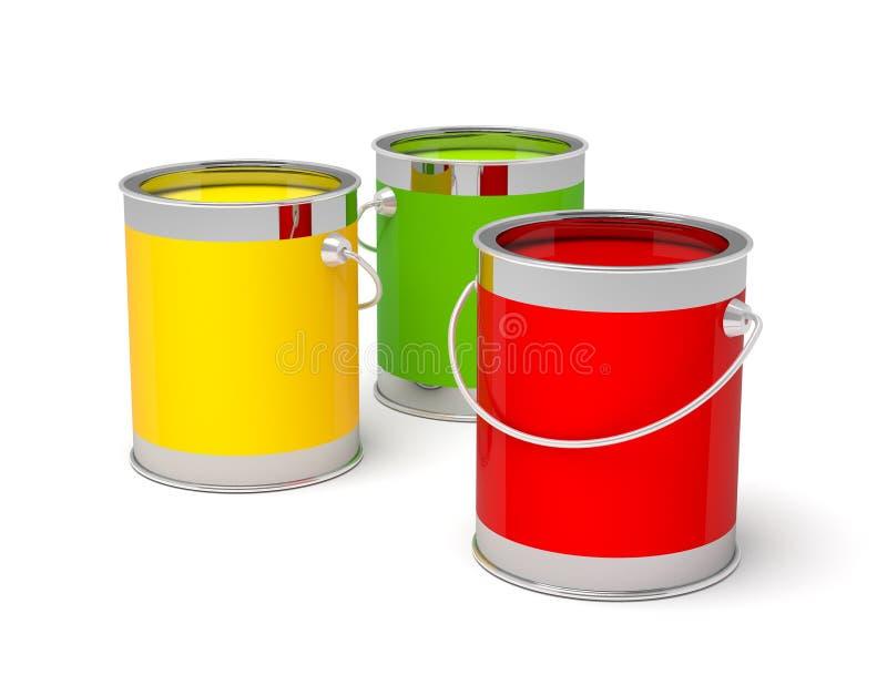 Ζωηρόχρωμα δοχεία χρωμάτων στο λευκό διανυσματική απεικόνιση