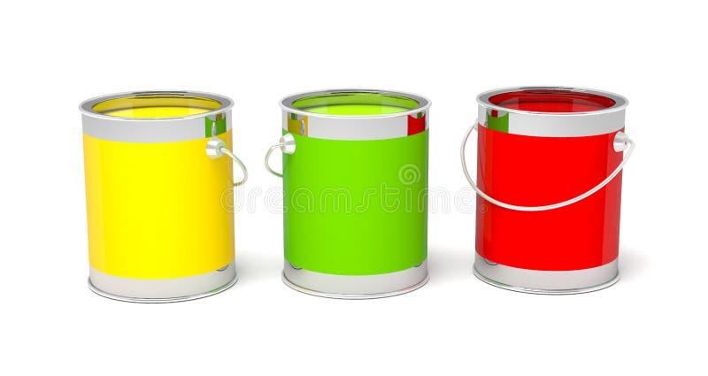 Ζωηρόχρωμα δοχεία χρωμάτων στο λευκό ελεύθερη απεικόνιση δικαιώματος