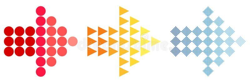 Ζωηρόχρωμα εικονίδια βελών Ένα απλό σημάδι του χρώματος ενός εικονιδίου Ιστού σε ένα άσπρο υπόβαθρο Η σύγχρονη στερεά πεδιάδα είν διανυσματική απεικόνιση