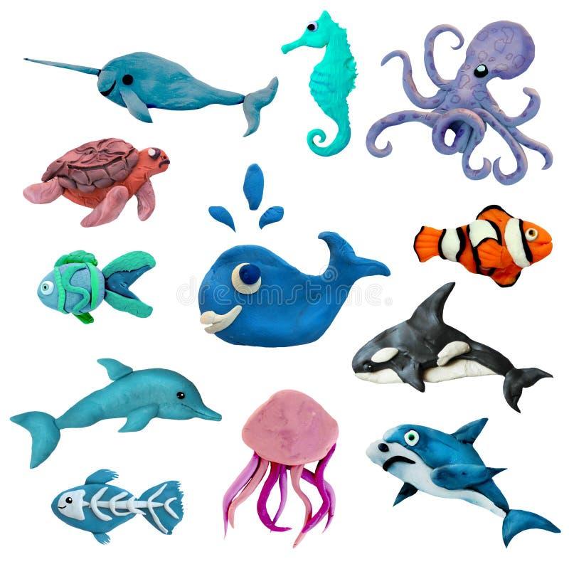 Ζωηρόχρωμα εικονίδια ζώων θάλασσας plasticine τρισδιάστατα καθορισμένα απομονωμένα στο άσπρο υπόβαθρο ελεύθερη απεικόνιση δικαιώματος