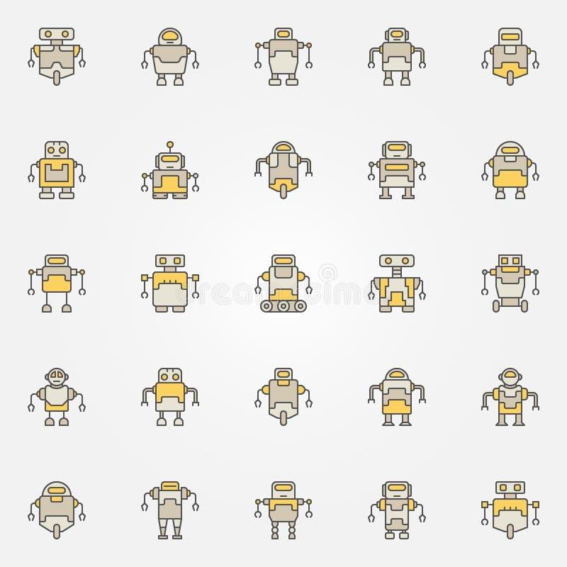Ζωηρόχρωμα εικονίδια ρομπότ καθορισμένα - διανυσματικά ρομπότ δημιουργικά σημάδια απεικόνιση αποθεμάτων