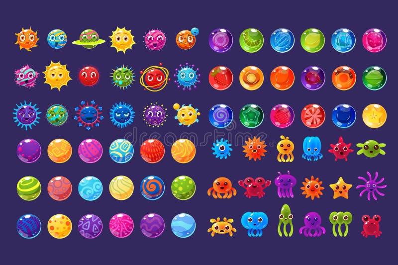 Ζωηρόχρωμα εικονίδια φαντασίας, συλλογή για το σχέδιο παιχνιδιών, μικρόβιο, ufo, στοιχεία πλασμάτων θάλασσας για το κινητό διάνυσ ελεύθερη απεικόνιση δικαιώματος