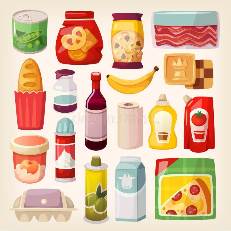 Ζωηρόχρωμα εικονίδια προϊόντων απεικόνιση αποθεμάτων