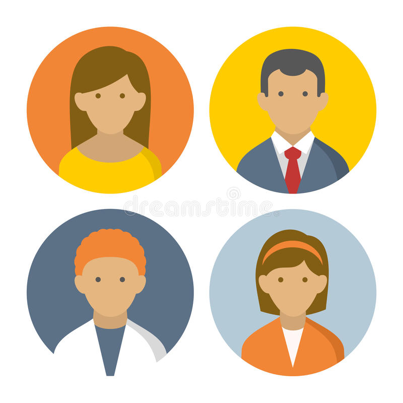 Ζωηρόχρωμα εικονίδια Userpics λαών που τίθενται στο επίπεδο ύφος διανυσματική απεικόνιση