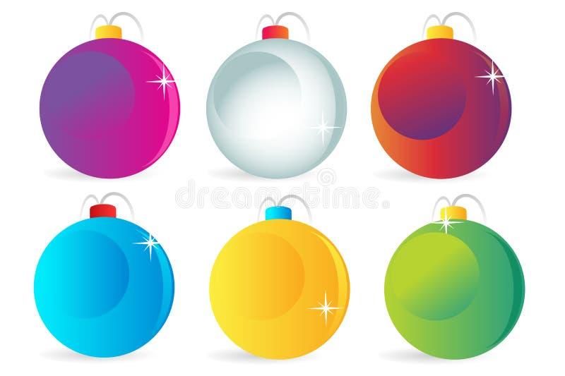 Ζωηρόχρωμα διανυσματικά εικονίδια σφαιρών Χριστουγέννων καθορισμένα ελεύθερη απεικόνιση δικαιώματος
