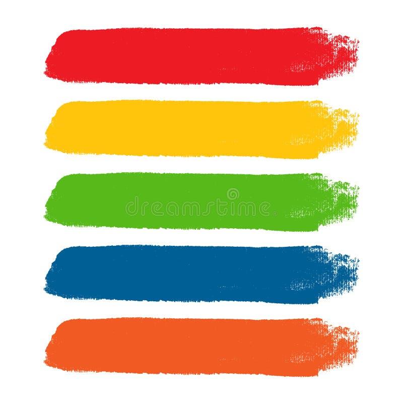 Ζωηρόχρωμα διανυσματικά κτυπήματα βουρτσών watercolor απεικόνιση αποθεμάτων