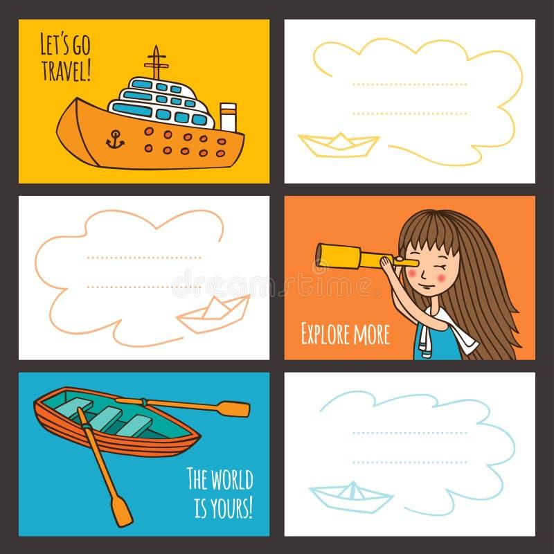 Ζωηρόχρωμα διανυσματικά χαριτωμένα κορίτσι και σκάφη καρτών απεικόνιση αποθεμάτων