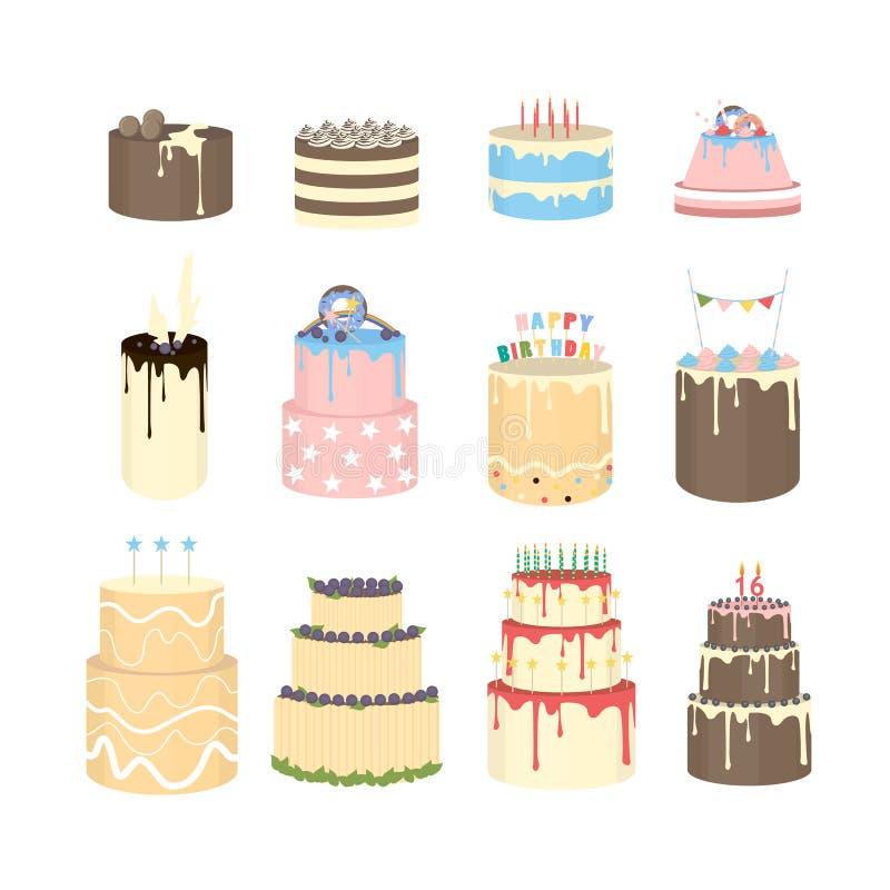 Ζωηρόχρωμα κέικ καθορισμένα ελεύθερη απεικόνιση δικαιώματος