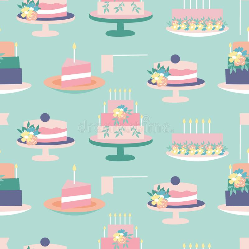 Ζωηρόχρωμα κέικ κρητιδογραφιών σε ένα άνευ ραφής σχέδιο σχεδίων απεικόνιση αποθεμάτων