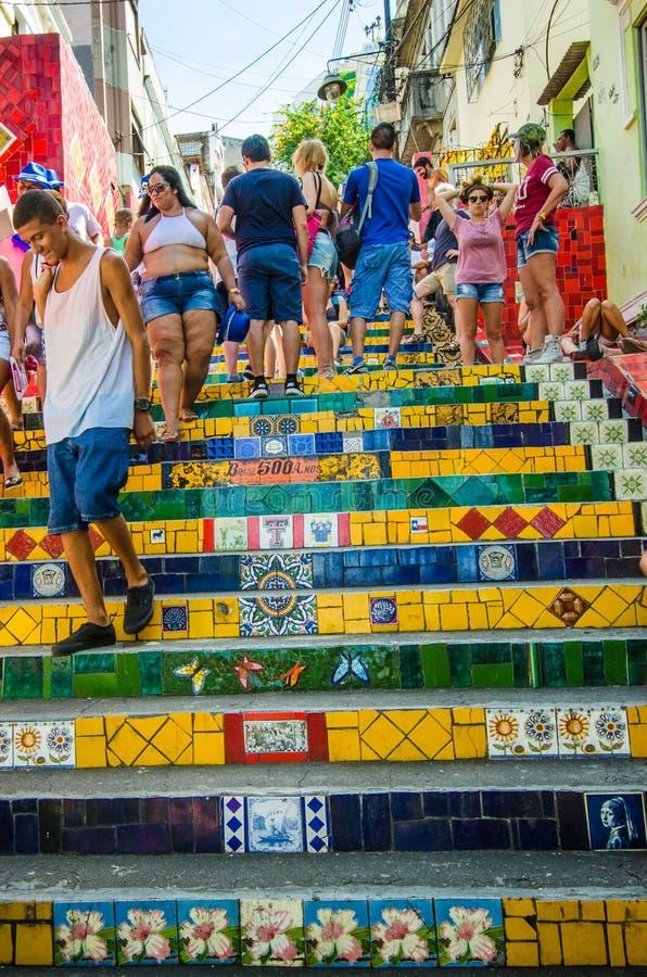 Ζωηρόχρωμα κεραμίδια των βημάτων Selaron στο Ρίο ντε Τζανέιρο στοκ φωτογραφίες με δικαίωμα ελεύθερης χρήσης