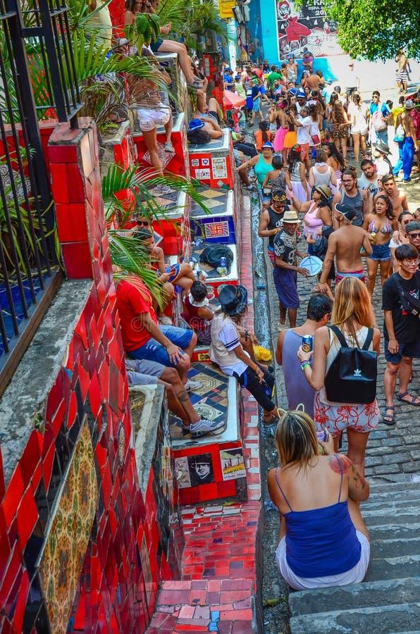 Ζωηρόχρωμα κεραμίδια των βημάτων Selaron στο Ρίο ντε Τζανέιρο στοκ φωτογραφία με δικαίωμα ελεύθερης χρήσης