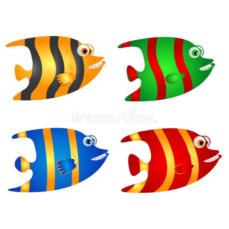 Ζωηρόχρωμα κινούμενα σχέδια ψαριών με το χαμόγελο ελεύθερη απεικόνιση δικαιώματος