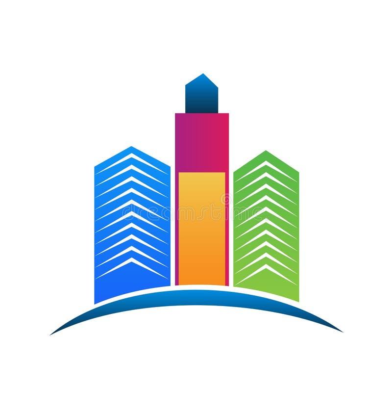 Ζωηρόχρωμα κτήρια πόλεων ακίνητων περιουσιών λογότυπων απεικόνιση αποθεμάτων
