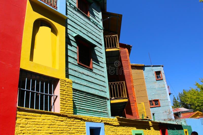 Ζωηρόχρωμα κτήρια στο Λα Boca Μπουένος Άιρες EL Caminito στοκ φωτογραφία με δικαίωμα ελεύθερης χρήσης