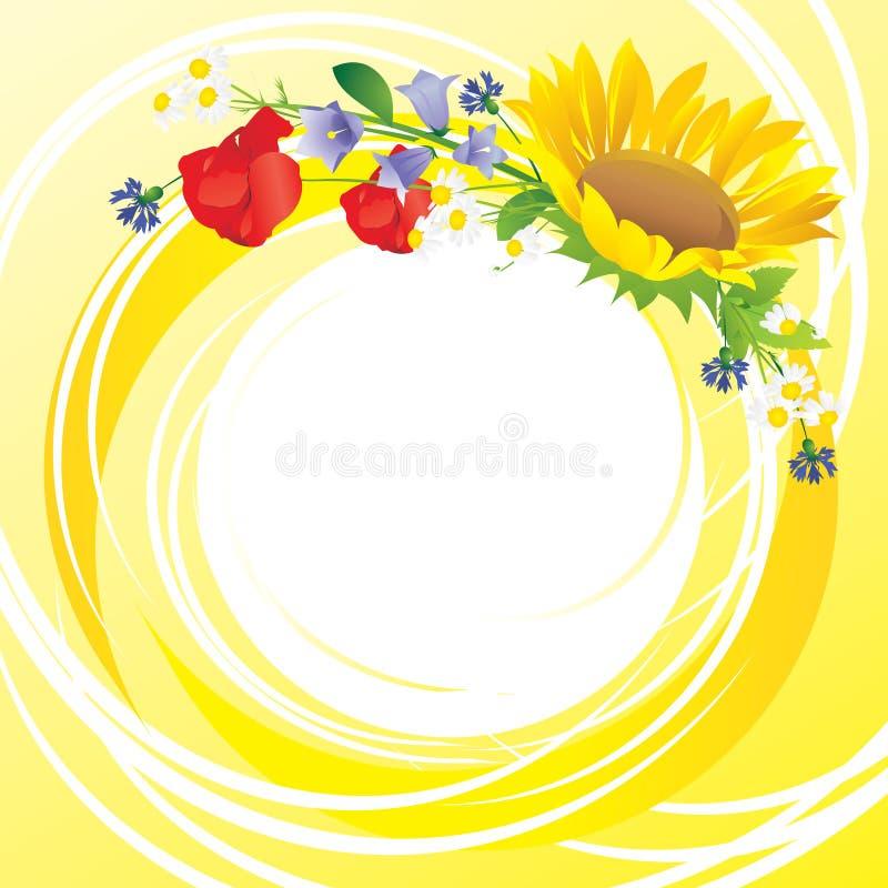 Ζωηρόχρωμα λουλούδια σε ένα κίτρινο υπόβαθρο ελεύθερη απεικόνιση δικαιώματος