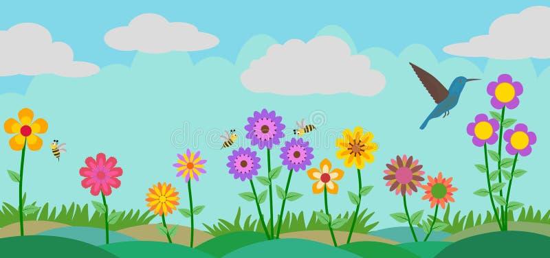 Ζωηρόχρωμα λουλούδι, μέλισσες και πουλί στο διανυσματικό υπόβαθρο απεικόνισης κήπων διανυσματική απεικόνιση
