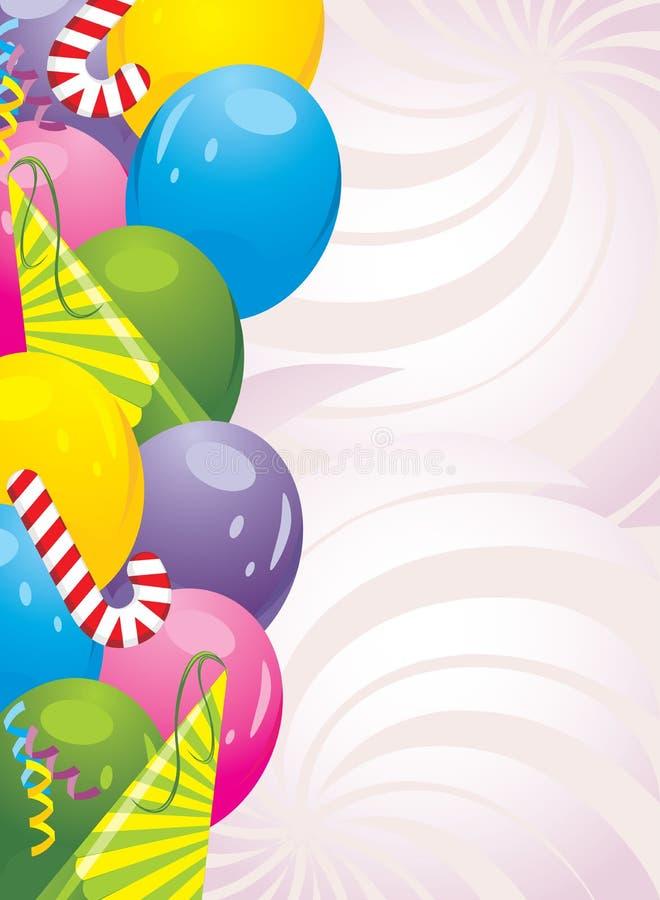 Ζωηρόχρωμα μπαλόνια και εορταστικό tinsel. Ανασκόπηση διανυσματική απεικόνιση