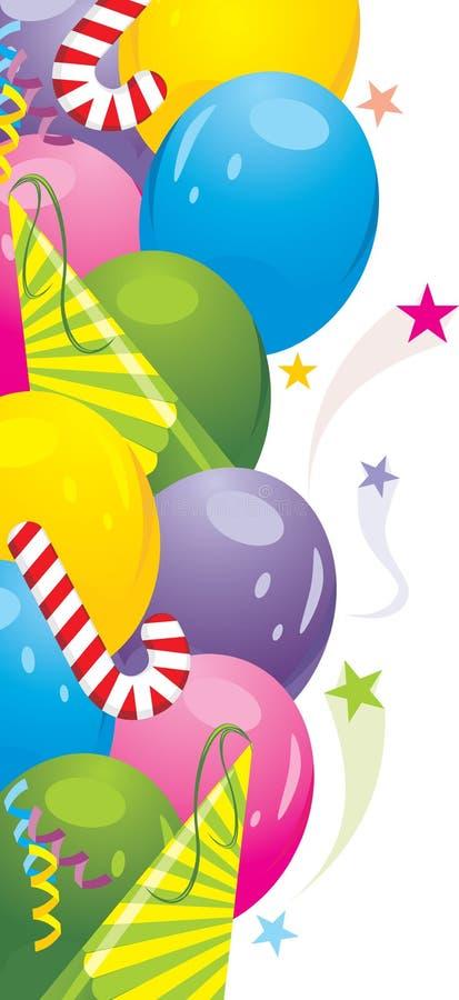 Ζωηρόχρωμα μπαλόνια και εορταστικό tinsel. Ανασκόπηση απεικόνιση αποθεμάτων