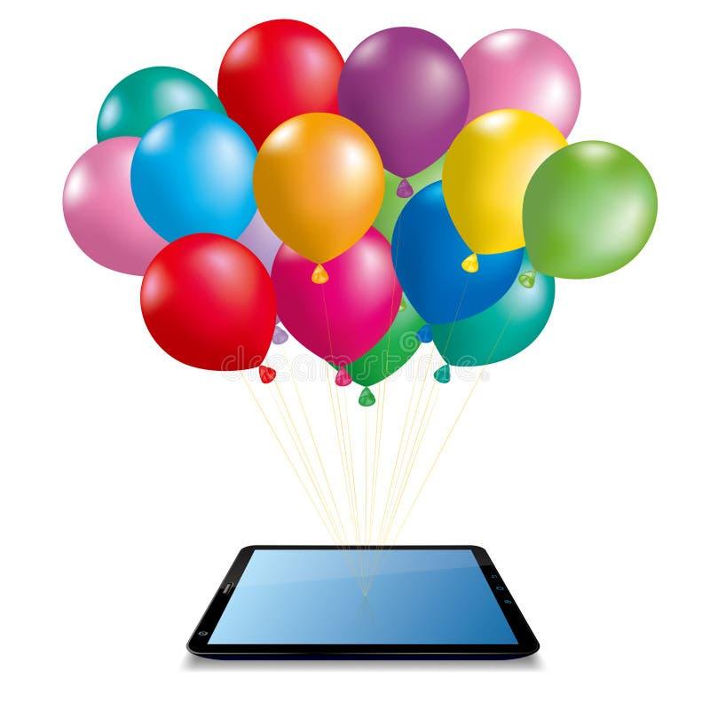 Ζωηρόχρωμα μπαλόνια και κινητή ταμπλέτα απεικόνιση αποθεμάτων