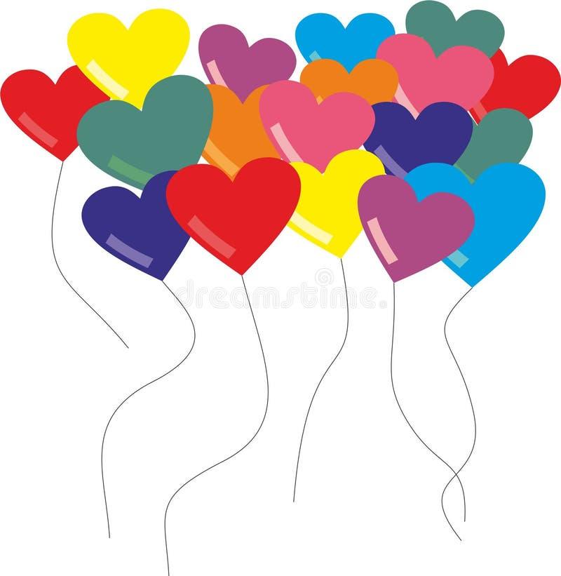 Ζωηρόχρωμα μπαλόνια καρδιών διανυσματική απεικόνιση