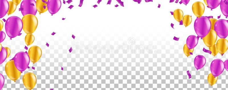 Ζωηρόχρωμα μπαλόνια Σχέδιο γενεθλίων, κόμματος, παρουσίασης, πώλησης, επετείου και λεσχών, ευτυχές έμβλημα r διανυσματική απεικόνιση