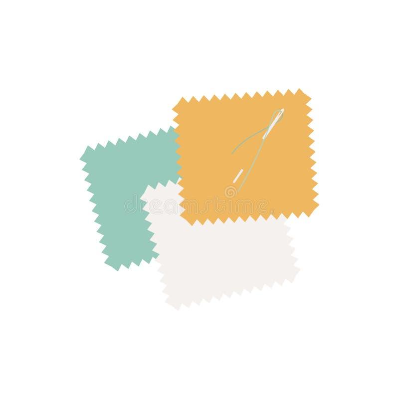 Ζωηρόχρωμα μπαλώματα της απεικόνισης εικονιδίων υφάσματος διανυσματική απεικόνιση