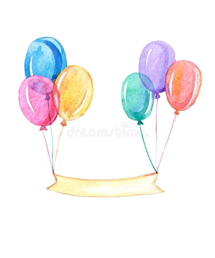 Ζωηρόχρωμα μπαλόνια με την κορδέλλα για το κείμενό σας, watercolor διανυσματική απεικόνιση