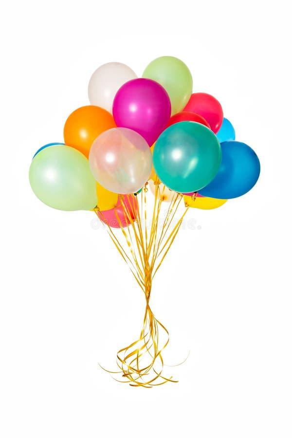 Ζωηρόχρωμα μπαλόνια με τις κίτρινες κορδέλλες στοκ εικόνες με δικαίωμα ελεύθερης χρήσης