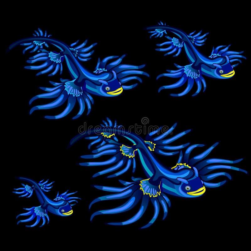 Ζωηρόχρωμα μπλε τροπικά ψάρια με τα κίτρινα πτερύγια απεικόνιση αποθεμάτων