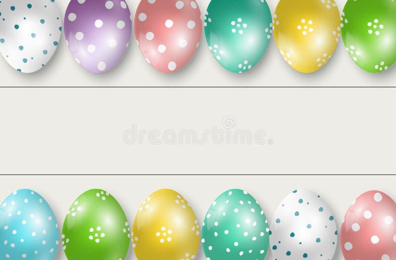 Ζωηρόχρωμα Πάσχας σύνορα ακρών αυγών διπλά στο άσπρο ξύλινο υπόβαθρο διανυσματική απεικόνιση