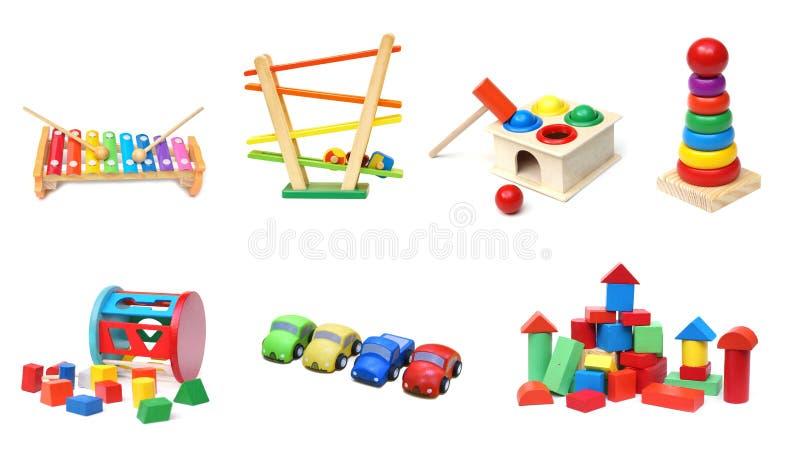 ζωηρόχρωμα παιχνίδια ξύλιν&alpha στοκ εικόνες με δικαίωμα ελεύθερης χρήσης