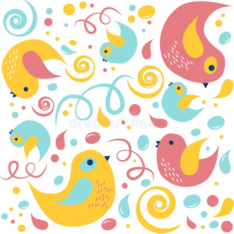 Ζωηρόχρωμα πουλιά κινούμενων σχεδίων με τα σημεία και τις γραμμές άνευ ραφής διάνυσμα προτύπ&omeg διανυσματική απεικόνιση