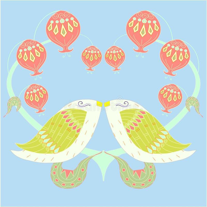 Ζωηρόχρωμα πουλιά αγάπης ζευγαριού στο μπλε για την τυπωμένη ύλη, για διακοσμημένος, για το γάμο απεικόνιση αποθεμάτων