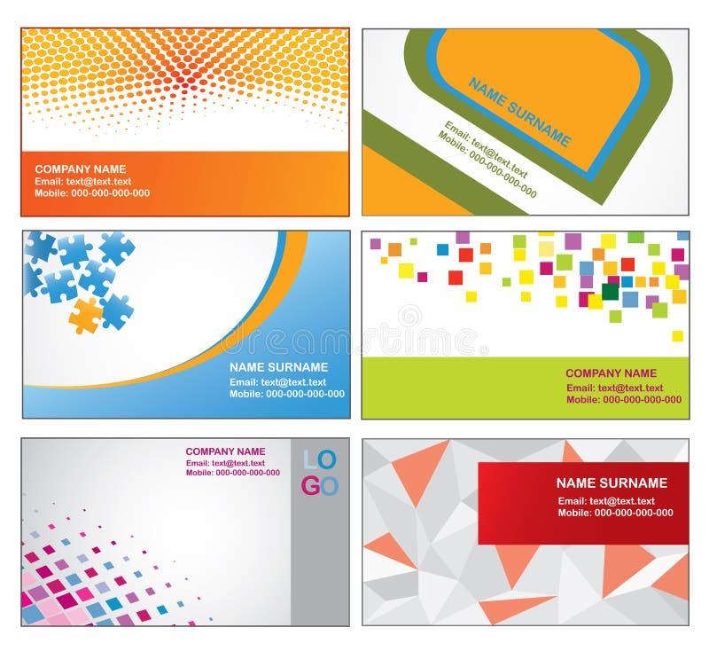ζωηρόχρωμα πρότυπα επαγγελματικών καρτών ελεύθερη απεικόνιση δικαιώματος